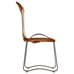 Chair, Silver Steel and Natural Tobacco Saddle Leather, HUG