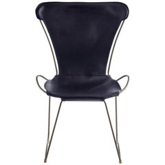 Chair, Silver Steel and Vegetable Navy Saddle Leather