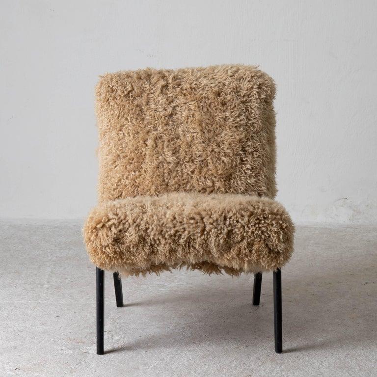 Chair Swedish Nordiska Kompaniet 20th Century Fur Beige, Sweden For Sale 6