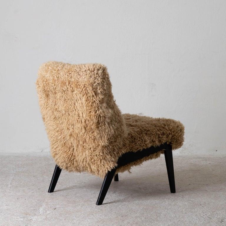 Modern Chair Swedish Nordiska Kompaniet 20th Century Fur Beige, Sweden For Sale