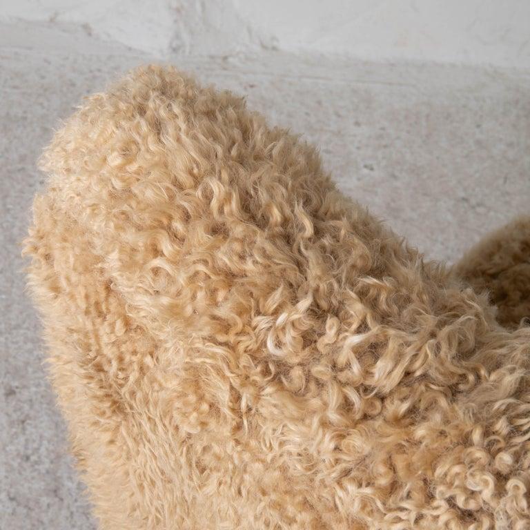 Chair Swedish Nordiska Kompaniet 20th Century Fur Beige, Sweden For Sale 1