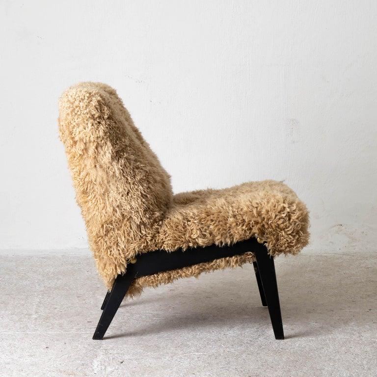 Chair Swedish Nordiska Kompaniet 20th Century Fur Beige, Sweden For Sale 2