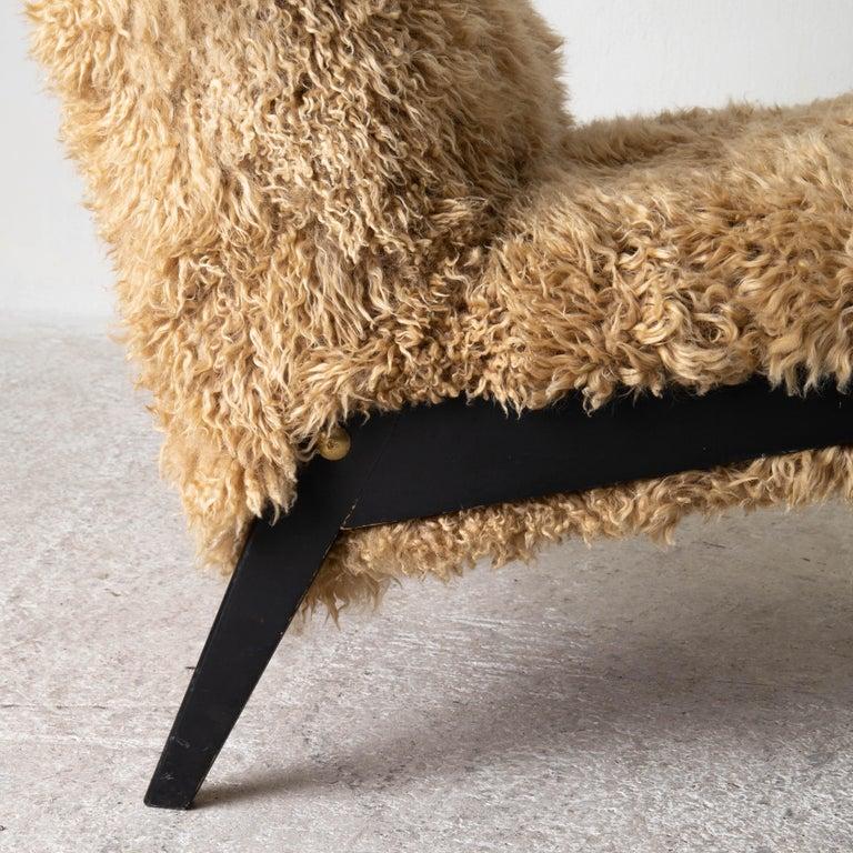 Chair Swedish Nordiska Kompaniet 20th Century Fur Beige, Sweden For Sale 3