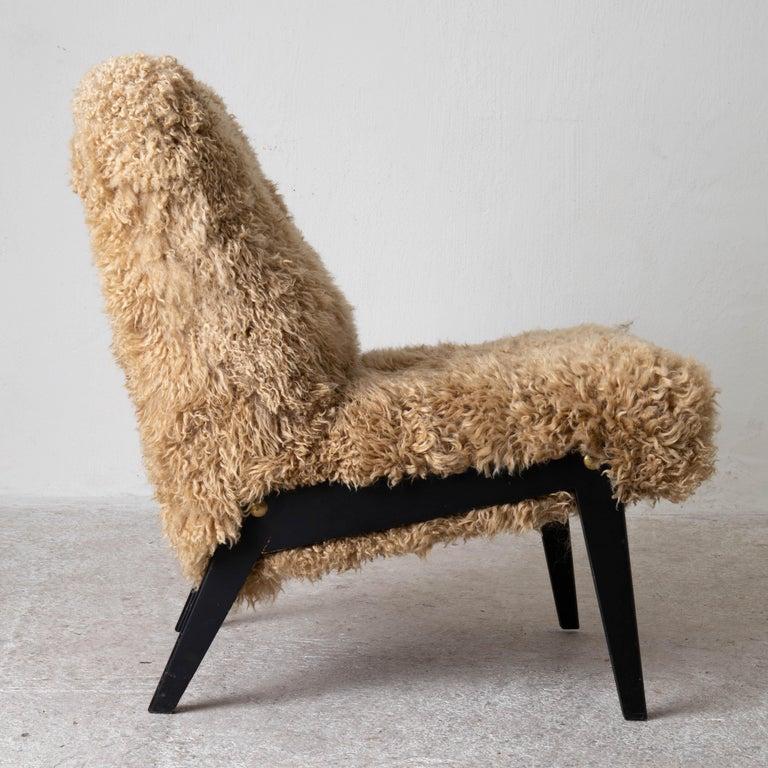Chair Swedish Nordiska Kompaniet 20th Century Fur Beige, Sweden For Sale 5