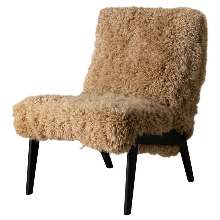 Chair Swedish Nordiska Kompaniet 20th Century Fur Beige, Sweden For Sale