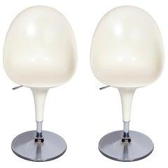 Chair Swivel Bar Stool White Plastic Chrome Italian Stefano Giovannoni Magis