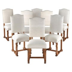 Chair, Upholstered, Dining, Set, Eight, 19th Century, French, Oak, Provincial