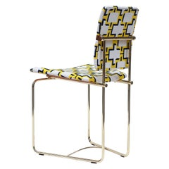 Chair Urban S02, Brass, Yellow Fabric, Handmade, New Extremes Style