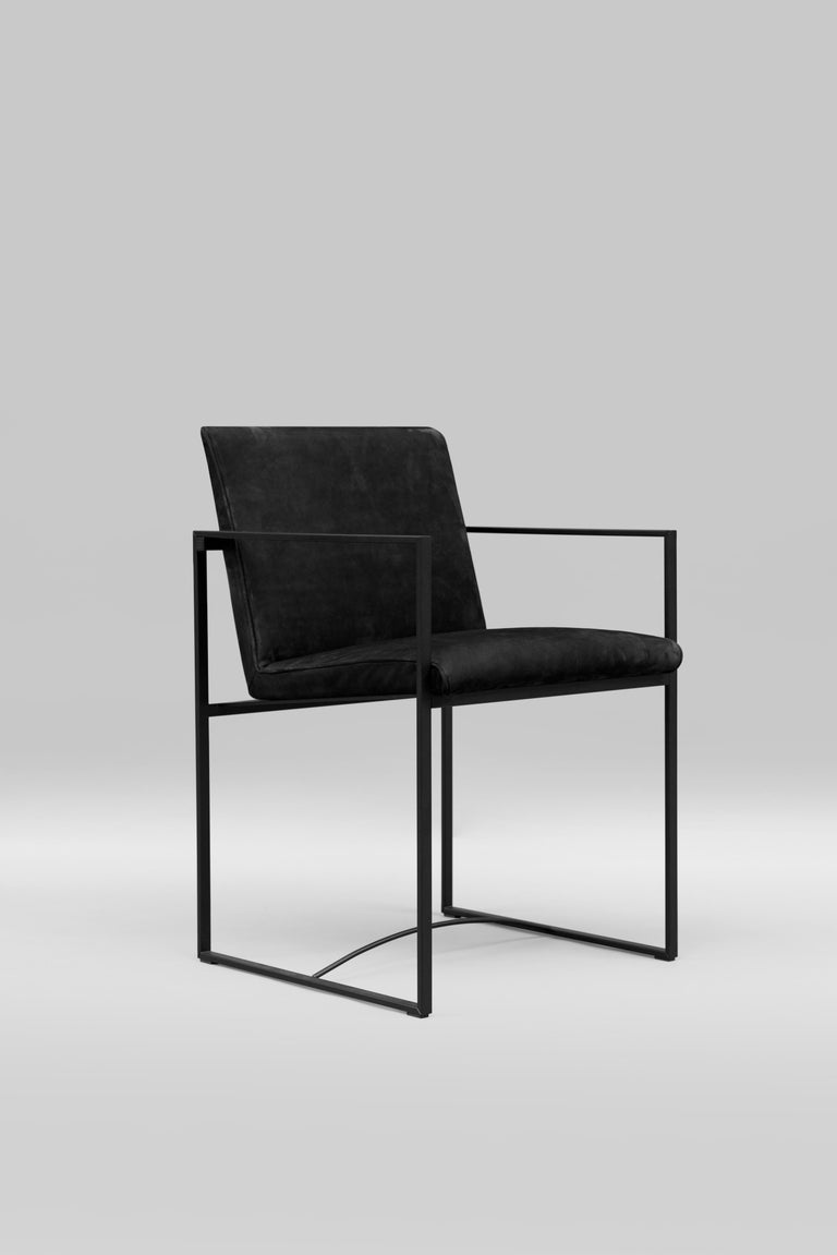 The frame of the armchair is made of 1 x 2 cm tubes. The seat is ergonomic and is made of a soft comfortable cushion. The chair is light and is designed for heavy duty. The product is available in different materials and finishes and can be