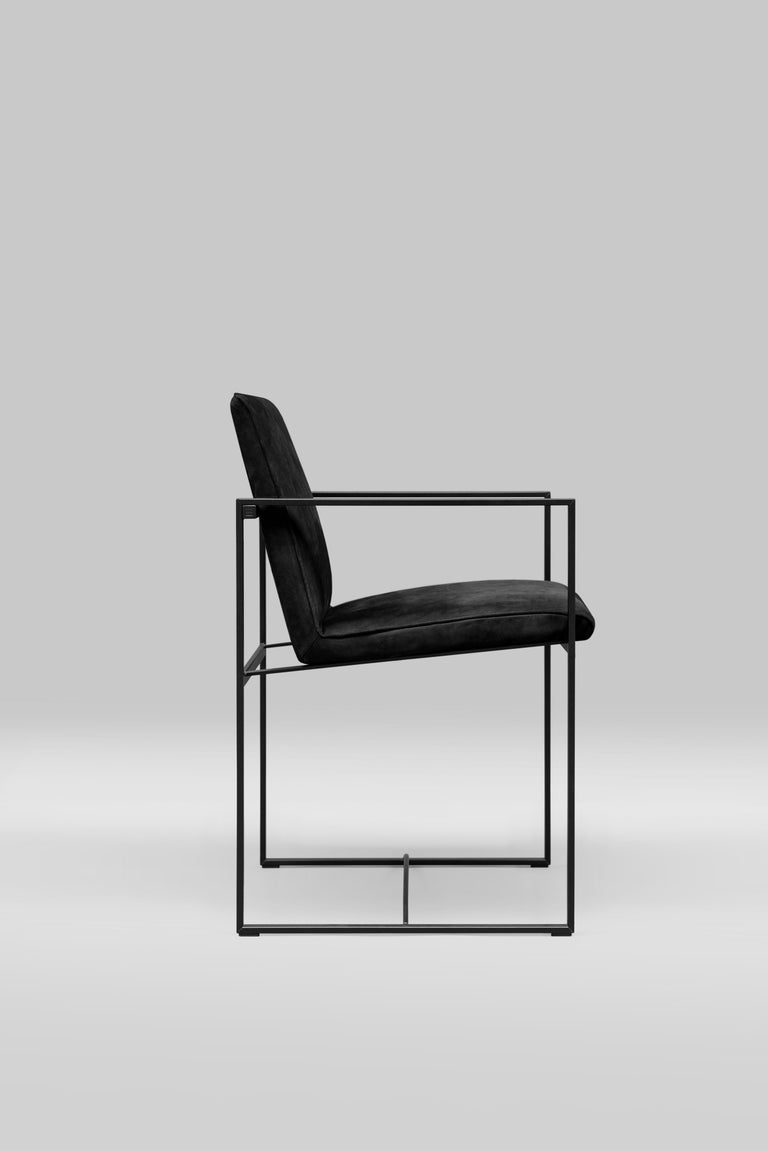 Minimalist Chair Urban S06 Charcoal, Leather, Minimal Style For Sale