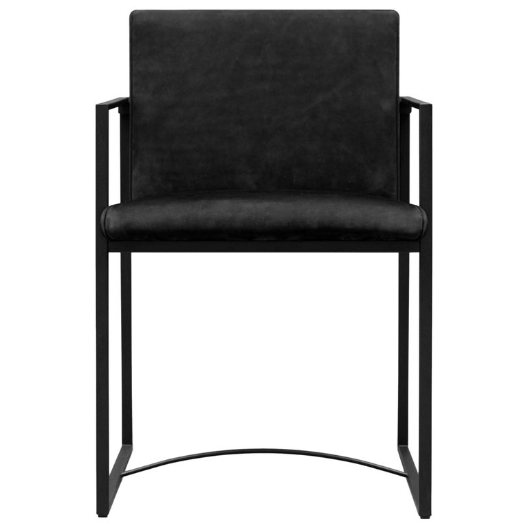 Chair Urban S06 Charcoal, Leather, Minimal Style For Sale