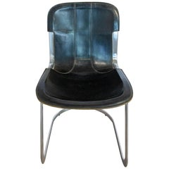 Chair Willy Rizzo Black Leather Chrome N1, circa 1970