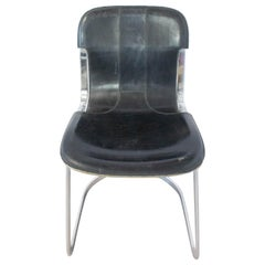Chair Willy Rizzo Black Leather Chrome N2, circa 1970