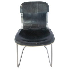 Chair Willy Rizzo Black Leather Chrome N3, circa 1970