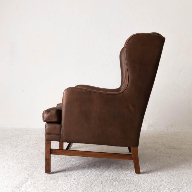 Mid-Century Modern Chair Wingback Swedish 20th Century Brown Tufted, Sweden For Sale
