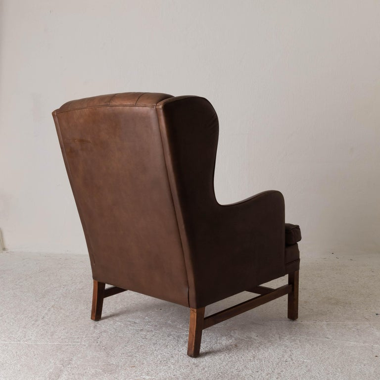 Chair Wingback Swedish 20th Century Brown Tufted, Sweden In Good Condition For Sale In New York, NY