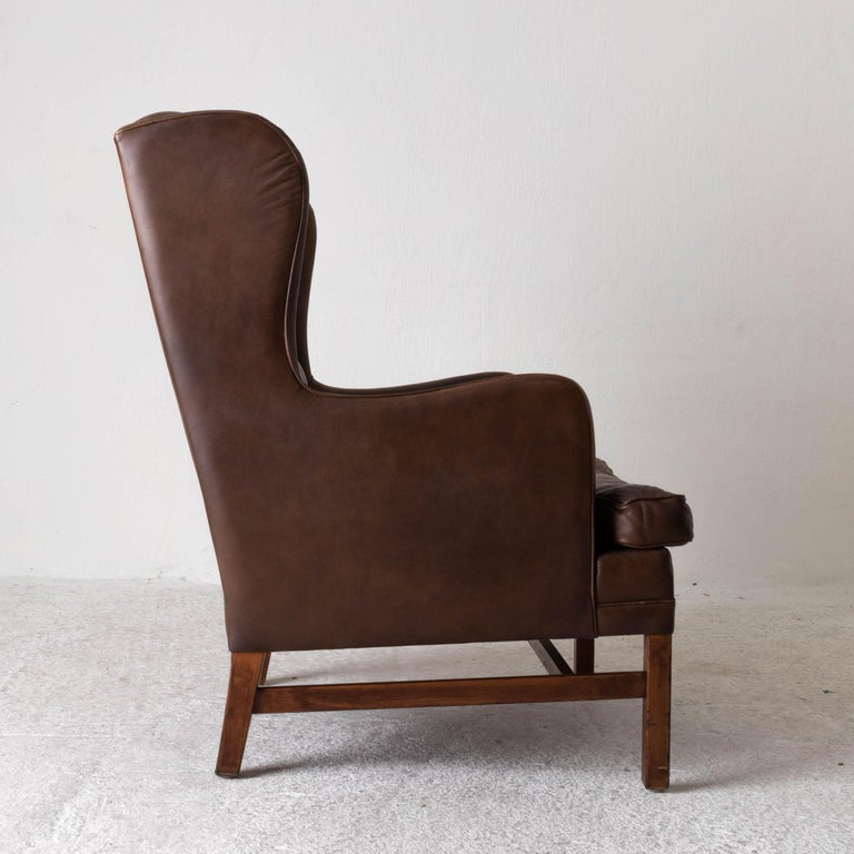 Wood Chair Wingback Swedish 20th Century Brown Tufted, Sweden For Sale