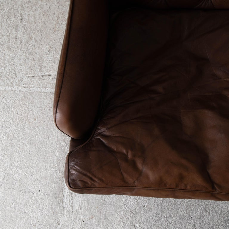 Chair Wingback Swedish 20th Century Brown Tufted, Sweden For Sale 1