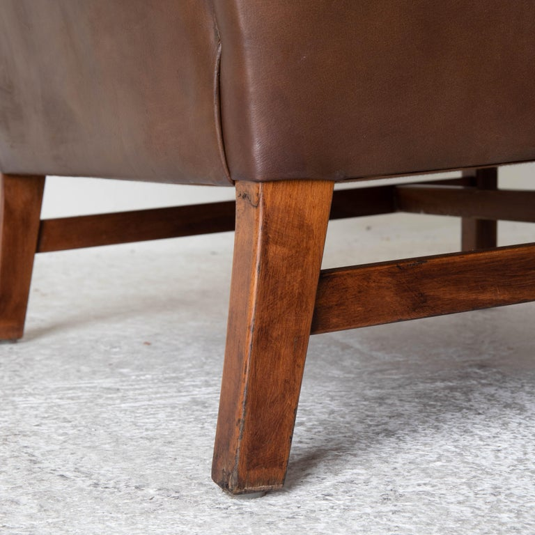 Chair Wingback Swedish 20th Century Brown Tufted, Sweden For Sale 4
