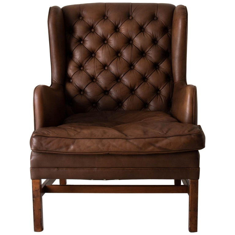 Chair Wingback Swedish 20th Century Brown Tufted, Sweden For Sale