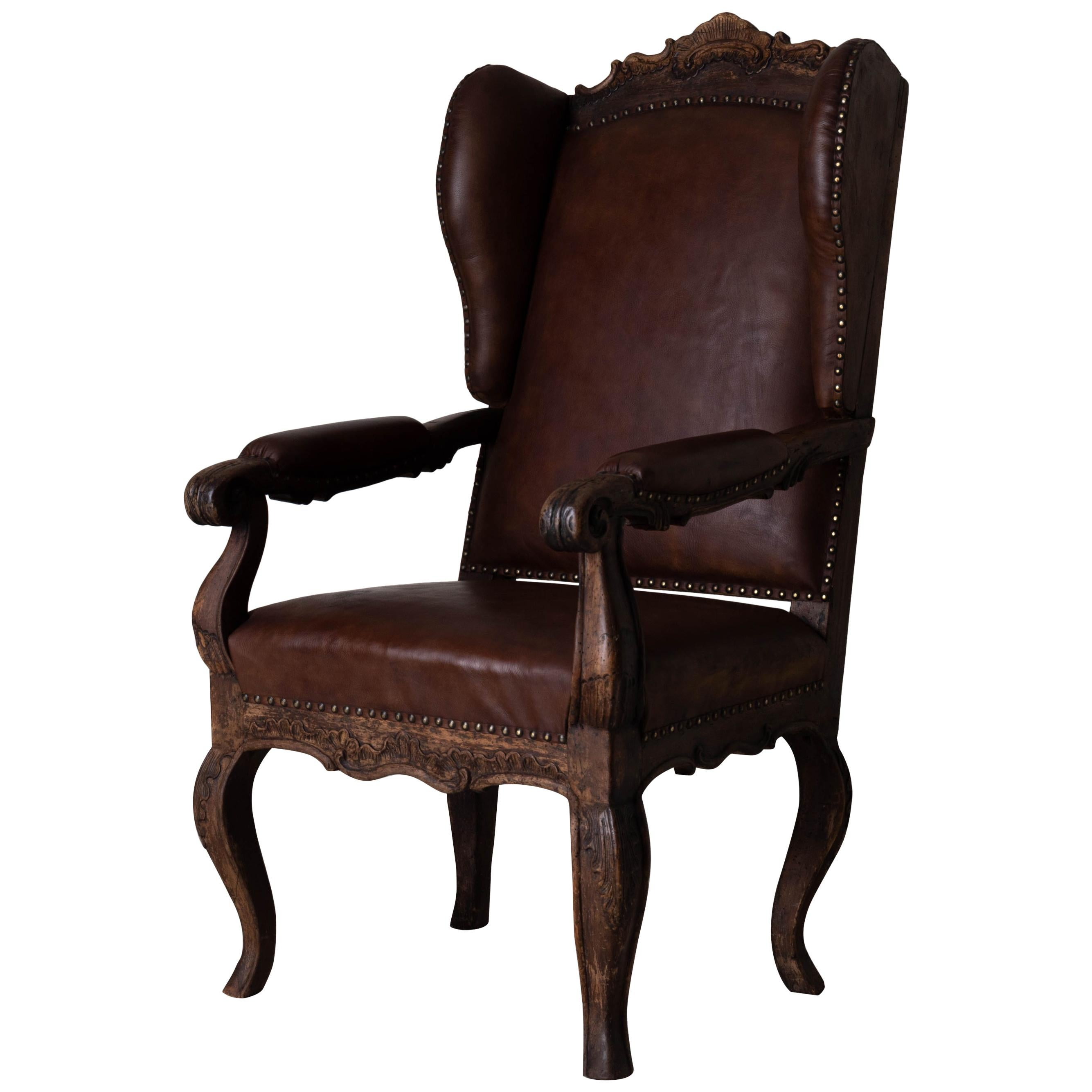 Chair Wingback Swedish Rococo Period 1750-1775 Brown Leather Sweden