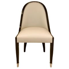 Chair with Narrow Curved Backrest in Art Deco Style with Leather and Wood