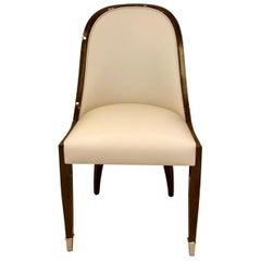 Chair with Wide Curved Backrest in Art Deco Style with Leather and Wood