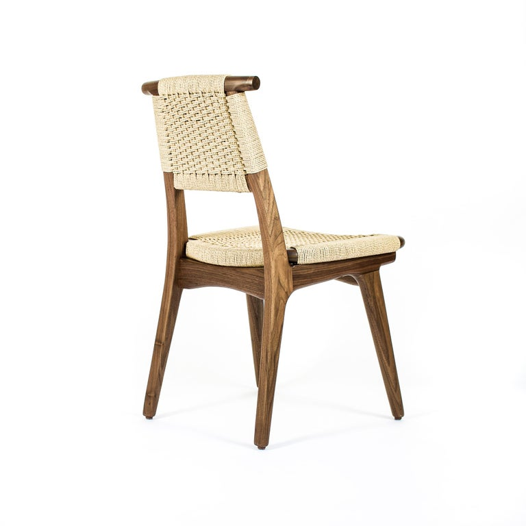 American Chair, Woven Danish Cord, Hardwood, Walnut, Midcentury, Dining, Office, Custom For Sale