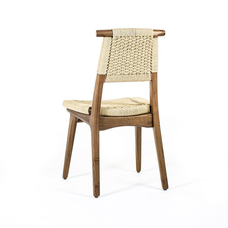 Hand-Crafted Chair, Woven Danish Cord, Hardwood, Walnut, Midcentury, Dining, Office, Custom For Sale