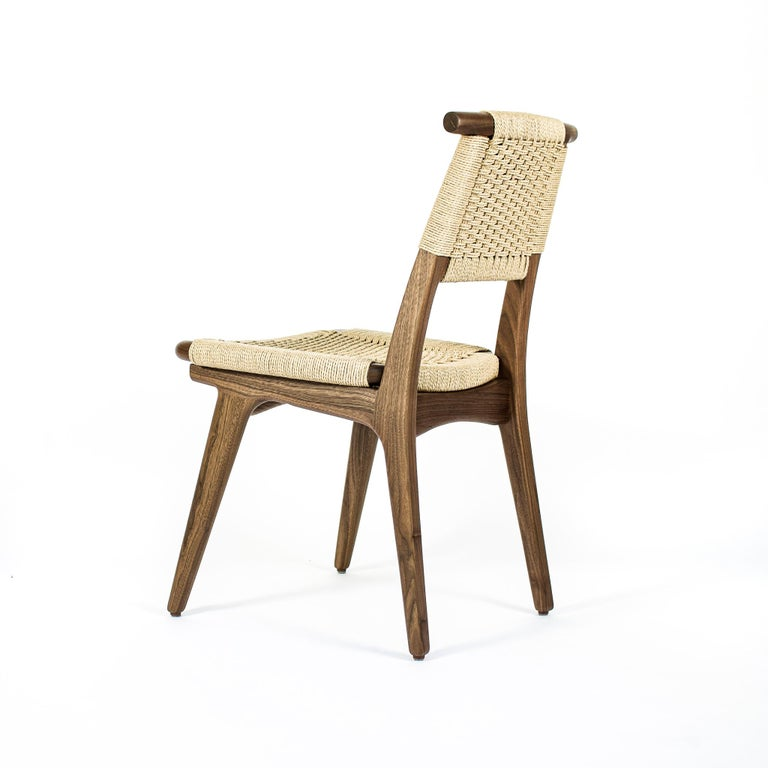 Chair, Woven Danish Cord, Hardwood, Walnut, Midcentury, Dining, Office, Custom In New Condition For Sale In Issaquah, WA
