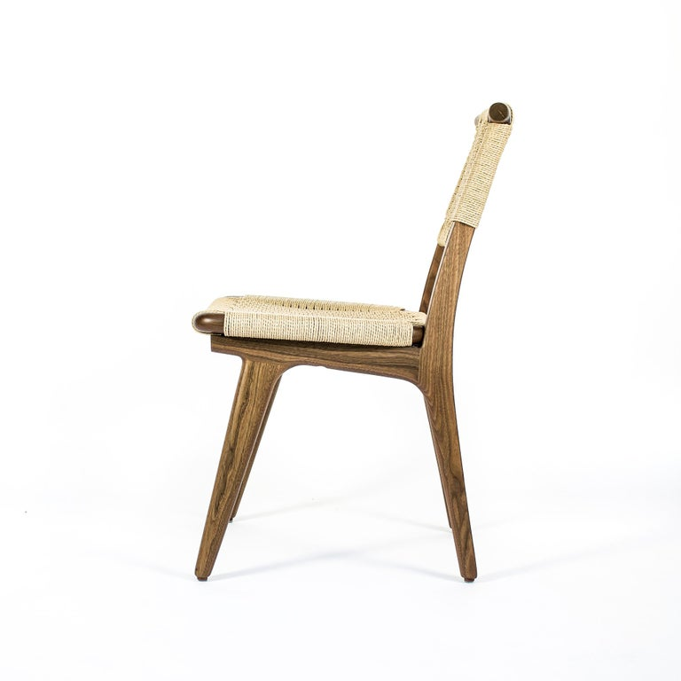 Contemporary Chair, Woven Danish Cord, Hardwood, Walnut, Midcentury, Dining, Office, Custom For Sale