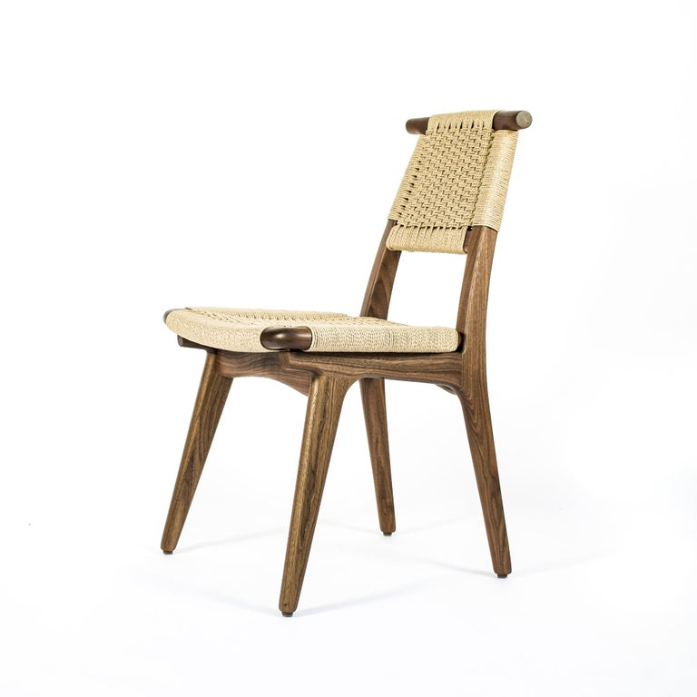 Chair, Woven Danish Cord, Hardwood, Walnut, Midcentury, Dining, Office, Custom For Sale 1