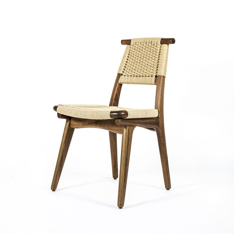 Chair, Woven Danish Cord, Hardwood, Walnut, Midcentury, Dining, Office, Custom For Sale 2