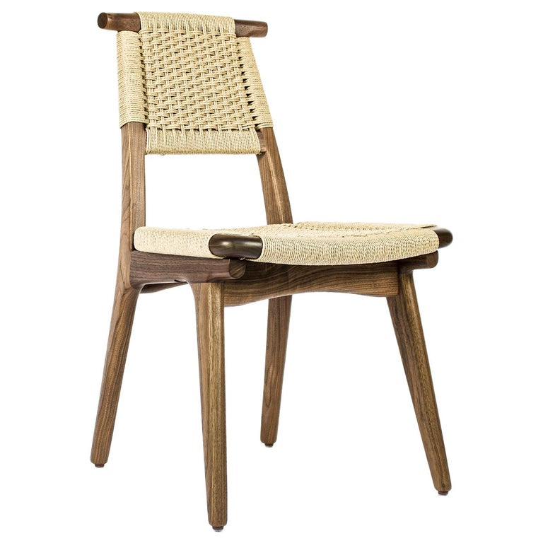 Chair, Woven Danish Cord, Hardwood, Walnut, Midcentury, Dining, Office, Custom For Sale