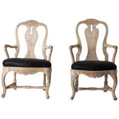 Chairs Armchairs Pair of Swedish Rococo 1750-1775 Cream White, Sweden