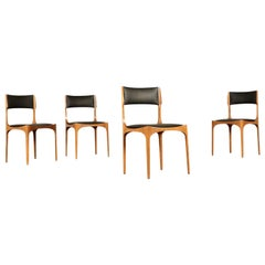 Chairs, Beech Foam and Leatherette, 1960s Giuseppe Gibelli