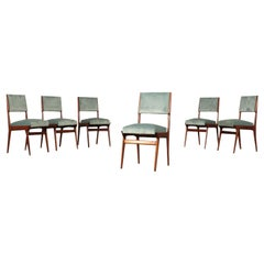 Chairs Beech Foam Spring and Velvet Italy 1950s Italian Prodution