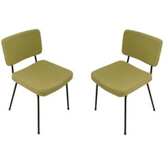 Chairs by André Simard for Airborne, in Metal and Fabric, France 1950, Set of 2