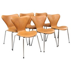 Chairs by Arne Jacobsen Model 3107 with Leather, 1980