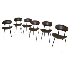 Chairs by Gastone Rinaldi Leather Enameled Metal Mid Century 1950s Set of 6