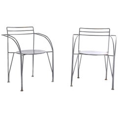 "Chairs by Pascal Mourgue, Model ""Lune d'argent"", in Grey Metal, France, 1985"