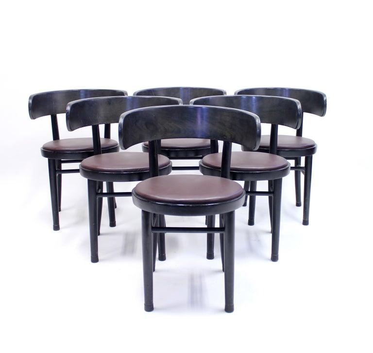 Scandinavian Modern Chairs by Werner West for Wilhelm Schauman Ltd, circa 1940s, Set of 6 For Sale