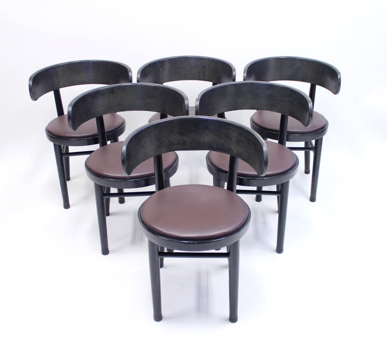 Chairs by Werner West for Wilhelm Schauman Ltd, circa 1940s, Set of 6 In Good Condition For Sale In Uppsala, SE