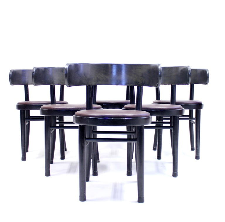 Mid-20th Century Chairs by Werner West for Wilhelm Schauman Ltd, circa 1940s, Set of 6 For Sale