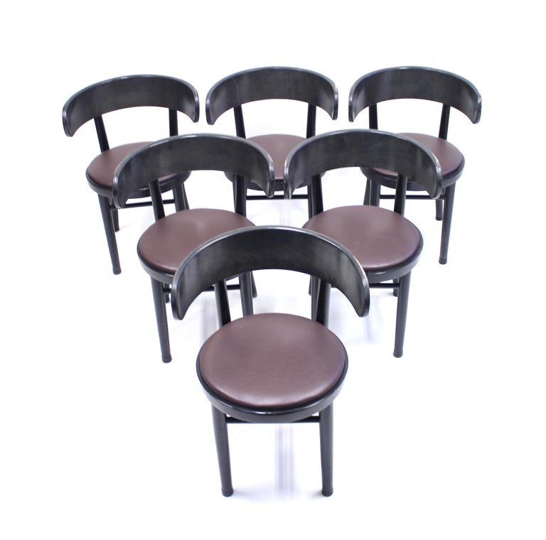 Leather Chairs by Werner West for Wilhelm Schauman Ltd, circa 1940s, Set of 6 For Sale