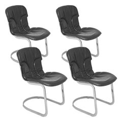 Chairs by Willy Rizzo in Chrome Metal and Leather, for Cidue, 1970, Set of Four