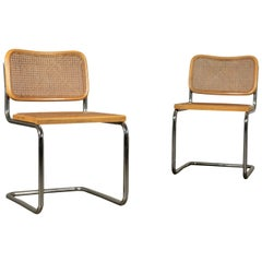 Chairs Chroimium Wood Straw of Vienna 1970s M. Breuer Gavina S.p.A.