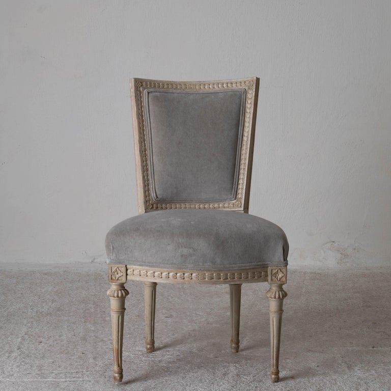 18th Century Chairs Dining Set of 8 Swedish Gustavian Gray, Sweden For Sale
