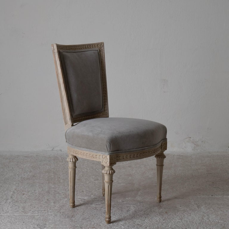 Wood Chairs Dining Set of 8 Swedish Gustavian Gray, Sweden For Sale
