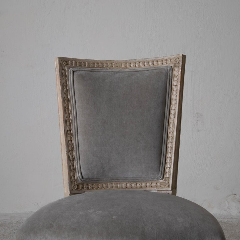 Chairs Dining Set of 8 Swedish Gustavian Gray, Sweden For Sale 1